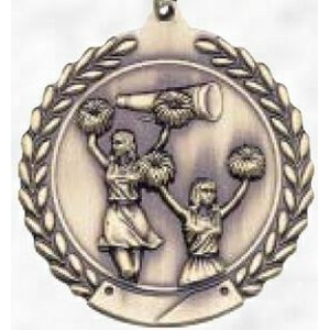 "1 3/4"" Round Gold Sport Medal & Ribbon Cheerleading"