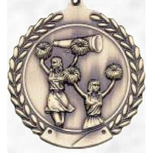 "2 3/4"" Round Gold Sport Medal & Ribbon Cheerleading"
